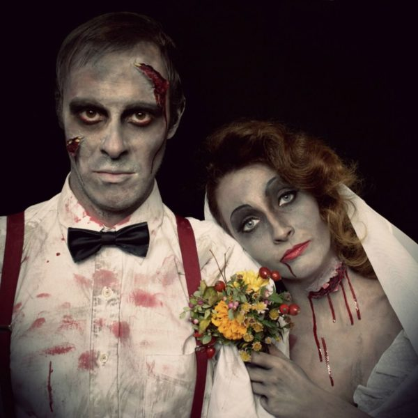 halloween make up bride couple
